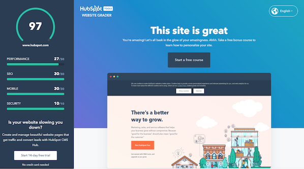 Free Website Grader from Webalite and HubSpot