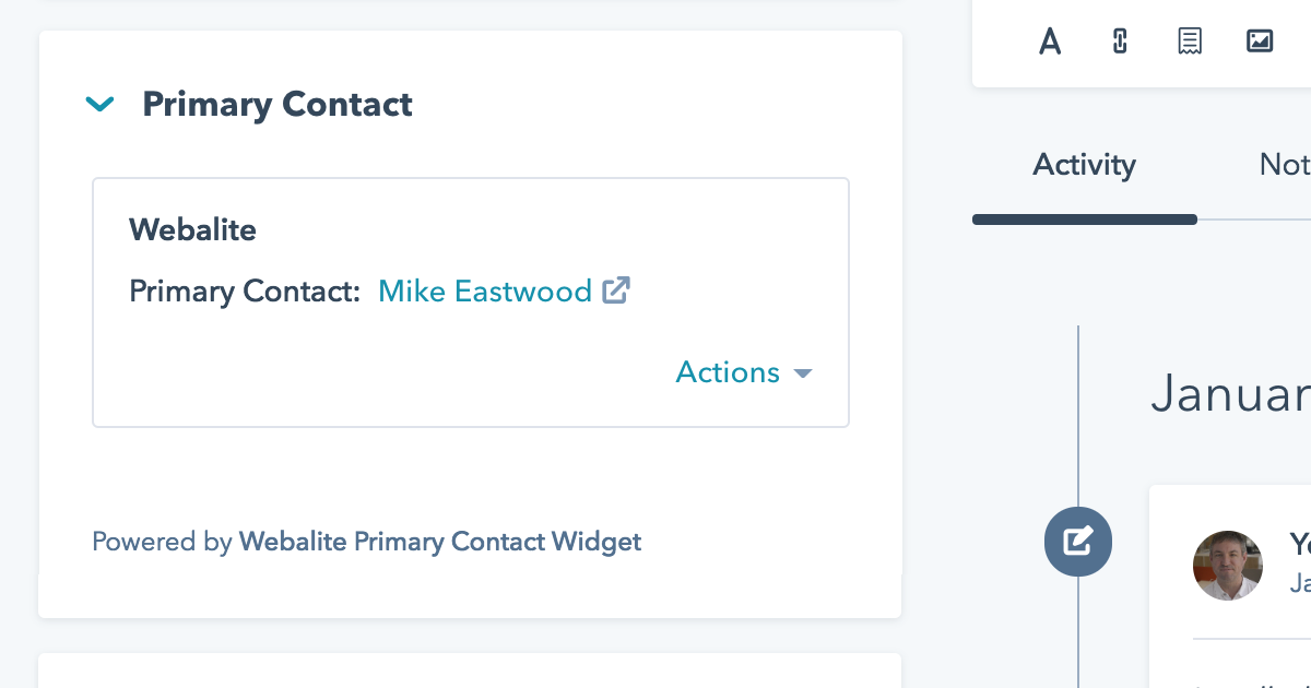 Webalite HubSpot Primary Contact CRM Widget