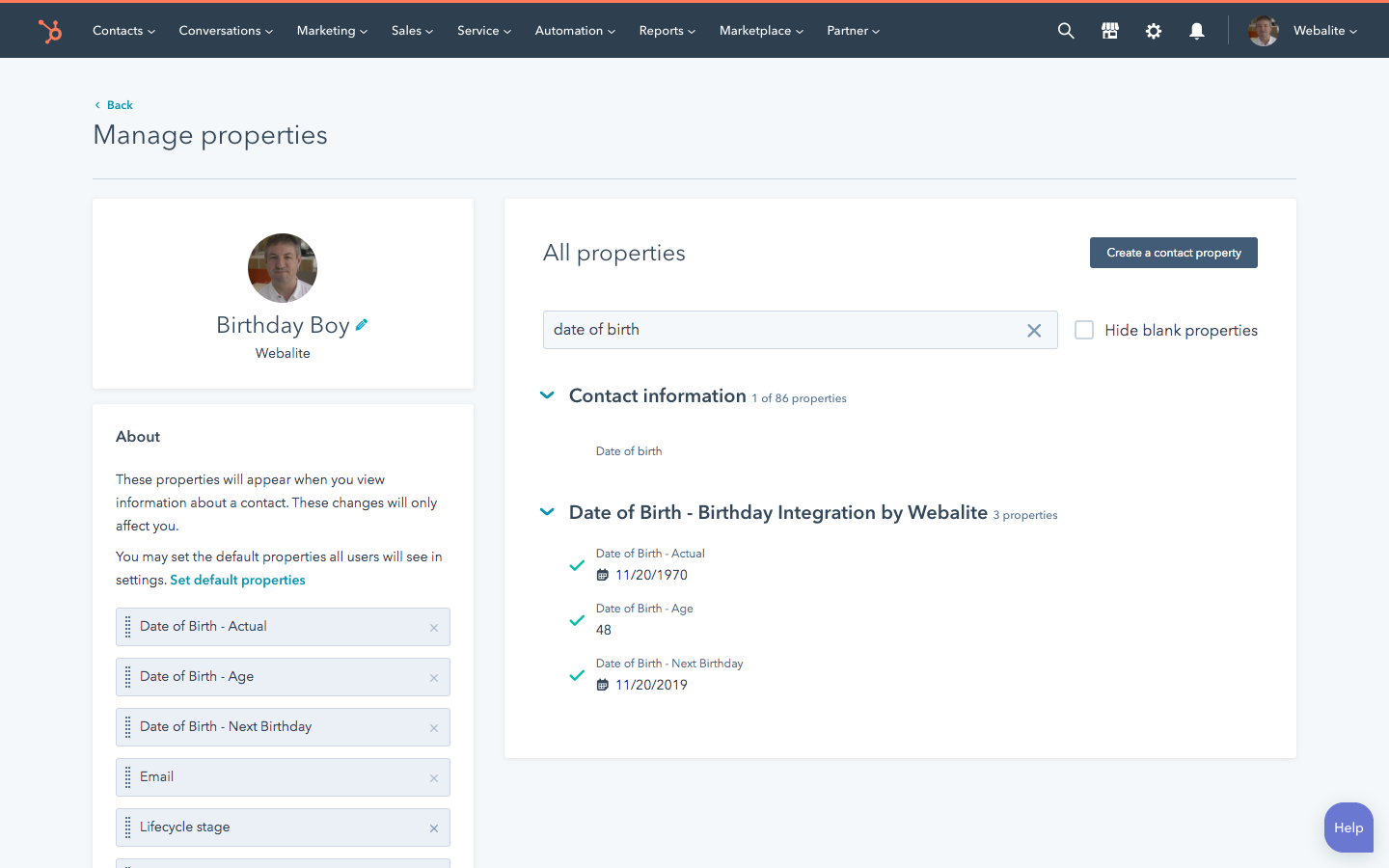 Screenshot – Custom Properties in the Birthday HubSpot Integration