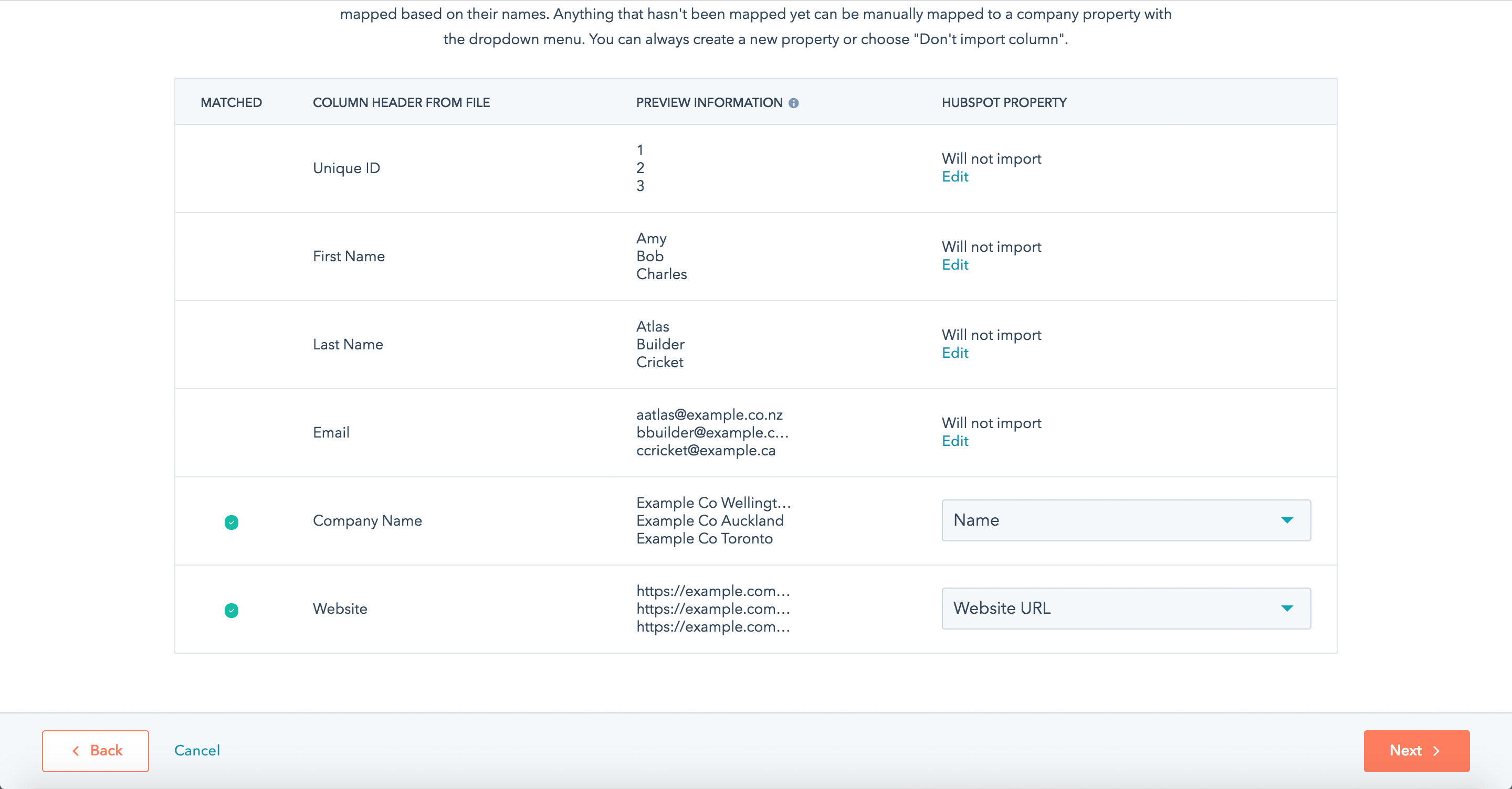 How to import Contacts and Companies with multiple branches into the HubSpot CRM - Step 9
