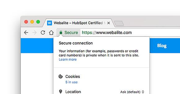 The Webalite website uses HTTPS